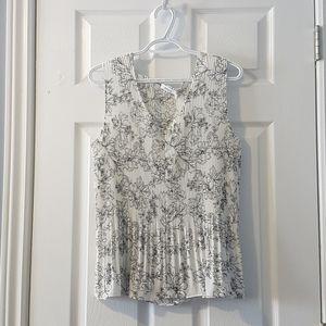 XL Reitman's white black floral sleeveless blouse